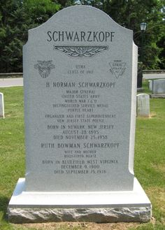 Herbert Norman Schwarzkopf - US Army Major General, and first Commandant of the New Jersey State Police. He is also the father of US Army General Herbert Norman Schwarzkopf, Junior, the Commander of coalition forces in the Persian Gulf War (sometimes referred to as Operation Desert Storm).