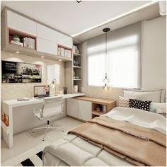 small bedroom design , small bedroom design ideas , minimalist bedroom design for small rooms , how to design a small bedroom Tiny Bedroom Design, Small Master Bedroom, Small Room Design, Home Room Design, Modern Bedroom, Contemporary Bedroom, Small Bedrooms, Modern Teen Bedrooms, Teenage Bedrooms