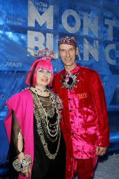 Zandra Rhodes Photos Photos - Fashion Designer Zandra Rhodes arrives with a friend to attend the Montblanc 'Night Of The Stars' Gala on February 2, 2007 in Chamonix, France. - Montblanc 'Night Of The Stars' Gala