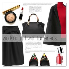 """""""working girl"""" by mirisproleca ❤ liked on Polyvore featuring Dolce&Gabbana, Uniqlo, Clinique, turtleneck and blackandred"""