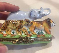 LIMOGES Porcelain Elephant Tiger Lion Trinket Gift Box