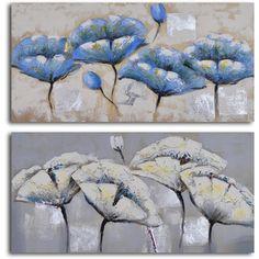 'Blue white poppy quartet' 2-piece Hand Painted Canvas Art