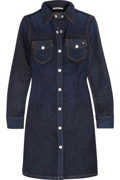 "Alexa Chung For AG Jeans' best-selling 'Pixie' dress has been reworked for the new collection in a darker wash. Shaped through the waist for a flattering silhouette, it's punctuated with embossed buttons and saffron stitching. NET-A-PORTER Buyer Octavia Bradford suggests wearing it with ""tights and ankle boots to take the style from a summer favorite to the perfect winter day dress."" Get the look at NET-A-PORTER"