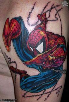 Spiderman Tattoos - The Top 15 Spiderman Tattoo Designs! Marvel Tattoos, Spiderman Tattoo, Spiderman 3, Batman, Hero Tattoo, Fan Tattoo, Tattoo Pics, Love Tattoos, Body Art Tattoos