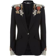Alexander McQueen Embellished Crepe Jacket ($7,545) ❤ liked on Polyvore featuring outerwear, jackets, crepe jacket, tux jacket, slim tuxedo, alexander mcqueen jacket and tuxedo jacket