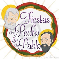 Illustration about Promotional poster for Feast of Saints Peter and Paul written in Spanish in Colombia with the faces of them and Neiva`s colors flag around it. Illustration of flag, colombia, halo - 94951553 St Peter And Paul, San Pablo, Promotional Design, Illustrations Posters, Spanish, Saints, Flag, Faces, Colors