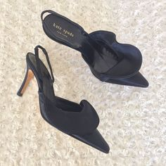 5946b79f30993 Kate Spade New York Lucia Women Sz 6 M Black Canvas Pointed Toe Heel Shoes  Italy