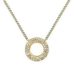 1/7 Ct Round Cut D/VVS1 14K Solid Gold Open Circle Pendant Necklace # Free Stud Earrings by JewelryHub on Opensky