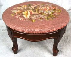 ANTIQUE VICTORIAN CARVED PINK FOOT STOOL