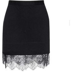 Carven Lace-Trimmed Jersey Miniskirt ($260) ❤ liked on Polyvore featuring skirts, mini skirts, saia, black, mini skirt, short skirts, short mini skirts, jersey mini skirt and lace trim skirt