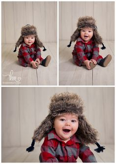 6 month old boy outfit - hat and flannel