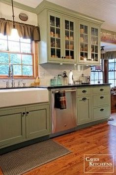 Kitchen Cabinets Remodeling Sage Green Country Cottage Kitchen with Farmhouse Sink - transitional - kitchen - other metro - Caves Kitchens - Green Kitchen Cabinets, Farmhouse Kitchen Cabinets, Kitchen Cabinet Colors, Kitchen Redo, Kitchen Remodel, Kitchen Design, Kitchen Ideas, Farmhouse Sinks, Oak Cabinets