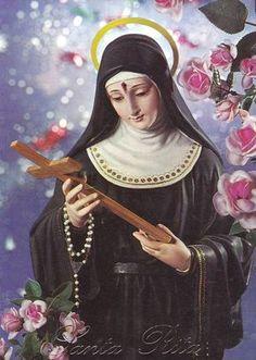 Santa Rita de Cássia Santa Rita De Cascia, St Rita Of Cascia, Religious Images, Religious Art, Catholic Saints, Roman Catholic, Sta Rita, Vintage Holy Cards, Sacred Art