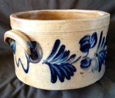 Antique Stoneware: 1Gal Remmey Cake Crock w/ Bold Cobalt Floral, PA, ca.1865, NR