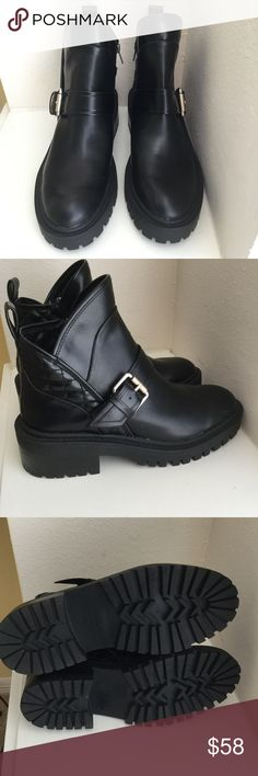 Zara Black Moto Boots Size 9 Zara Black Moto Boots Size EU 39. NWOB with silver buckles and a 1.5 inch rise and 1 inch platform.  Thanks for stopping by. Happy to answer any questions for you. Zara Shoes Ankle Boots & Booties