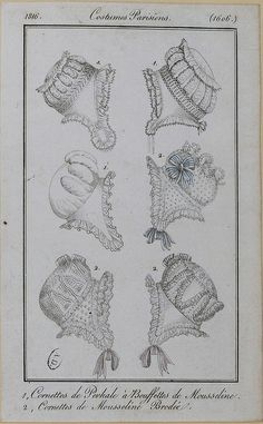 1816 Costume Parisien. 1. Caps of cotton with puffings of muslin. 2. Caps of embroidered muslin.