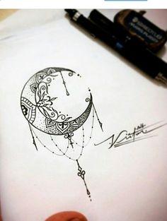 Mandala moon tattoo #HotTattoos