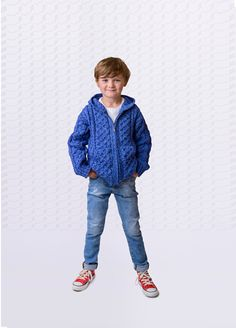Hooded Aran Zip Cardigan  Little Yarn Company, Woolen Irish Jumpers, Cardigans, Sweaters and Knits for kids. Contemporary kids knitwear fashion from Killarney, Co. Kerry, Ireland