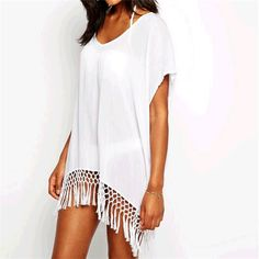 Beach Cover Up Pareo Midi Kaftan With Tassels Sexy Swimsuit Bikini Tunic Swimwear Chiffon Beachwear Bathing Suit Cover-up #Q53