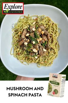 Whip up this insanely delicious and healthy lunch featuring a lot of essential nutrients to keep you fueled throughout the day! Recipe from @the_healthy_habit_ on Instagram! Edamame Spaghetti, Spinach Pasta, Plant Based Recipes, Healthy Habits, Stuffed Mushrooms, Lunch, Meals, Instagram, Kitchens