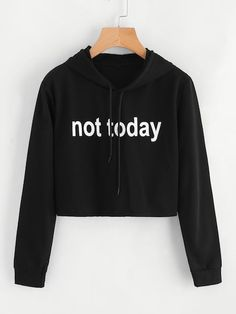 To find out about the Slogan Print Crop Hoodie at SHEIN, part of our latest Sweatshirts ready to shop online today! Girls Fashion Clothes, Teen Fashion Outfits, Mode Outfits, Clothes For Women, Girl Clothing, Ladies Fashion, Clothing Ideas, Fashion Fashion, Fashion Ideas
