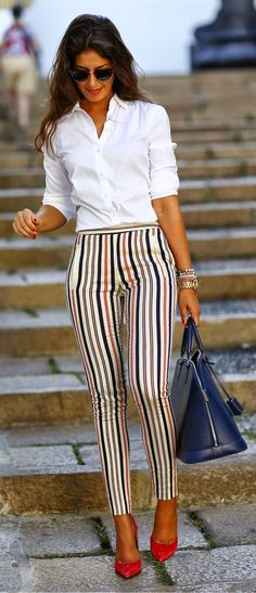 Luv to Look | Curating Fashion & Style: Street style | White shirt, striped pants, red heels, handbag