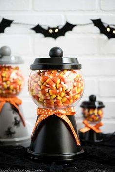 DIY Halloween Candy Jar #halloween #candyjar #terracotta #halloweendecor