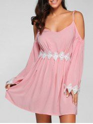 Cold Shoulder Lace Spliced Cami Dress