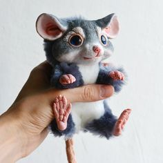 Poseable Gray Mouse Baby OOAK Art Doll Mixed Media by Ermellin