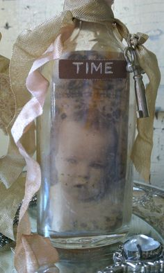 Rhinestone Embellished Time in a Bottle upcycled by shabbychatue, $18.00
