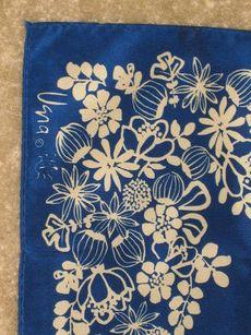 Vintage Vera Neumann Dark Blue Floral Signed Ladybug Scarf