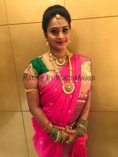 Traditional Southern Indian would-be bride, Priya wears bridal silk saree and jewellery. Engagement look. Makeup and hairstyle by Vejetha for Swank Studio. #BridalSareeBlouse #SariBlouseDesign #pinklips #pinksaree Silk kanchipuram sari. Tamil bride. Telugu bride. Kannada bride. Hindu bride. Malayalee bride  Find us at https://www.facebook.com/SwankStudioBangalore
