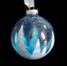 Items similar to Blue Christmas Tree Ornament Hand Painted Unique Artistic Collectible Snowy White Pine Trees Dark Sky Winter Wonderland Seasonal Holiday on Etsy Christmas Angel Crafts, Painted Christmas Ornaments, Hand Painted Ornaments, Blue Christmas, Xmas Crafts, Christmas Signs, Christmas Balls, Christmas Tree Decorations, Holiday Decor