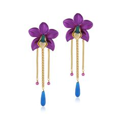 Valliyan 18Kt Gold Plated Wild Orchid Earrings