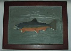 Nice Vintage Trout Fish Oil Painting Walnut Wood Wooden Frame Signed Warren #Americana