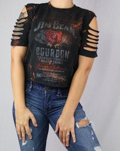 Custom Bleached and distressed Jim Bean crop top. Super cool and edgy, perfect for a street wear outfit. Slits around sleeves, making it sexy and grungy.