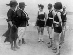California bathers being confronted by policewomen because they were scantily clad - 1922