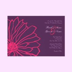 Hot Pink And Purple Floral Wedding Invitation