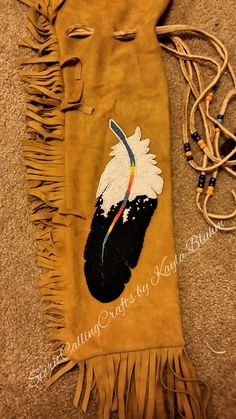 Beaded Eagle Feather Buckskin Pipe Bag by SpiritCallingCrafts, $255.00