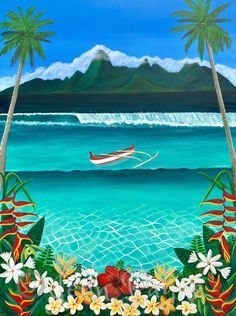 """The name of this painting means """"by the edge of the lagoon"""" and was a Commission for some fellow lovers of Tahiti💙 Tropical Art, Tropical Paradise, Flotsam And Jetsam, Tahiti, Vibrant, Colours, Sunset, Canvas, Beach"""