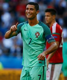 Cristiano Ronaldo of Portugal celebrates after a goal during the UEFA EURO 2016 Group F match between Hungary and Portugal at Stade de Lyon in Lyon...