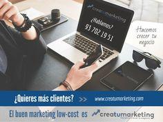 ¿Quieres más clientes?    Hacemos un diagnóstico inicial de tu marca, creamos tu plan personalizado de marketing, y te ofrecemos todas las herramientas y el soporte necesarios, para que puedas lograrlo 👍    ¡El Buen Marketing low-cost para tu empresa se llama creaTUmarketing!     ¿Hablamos?  - creaTUmarketing -    🌀 www.creatumarketing.com | Tel. 937021951   🌀 Con creaTUmarketing invierte menos, vende más.