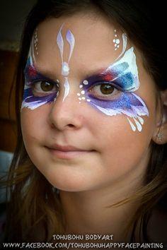 maquillages pour enfants, papillon, facepainting for child, butterfly,  grimage, bleu,