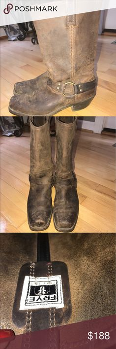 Frye Harness Buckle Boots - tan/size 9 in good condition besides a few scuff marks as shown! beautiful boots frye Shoes Heeled Boots