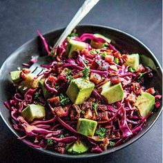 Red Cabbage, Bacon, and Avocado Slaw with Balsamic Vinaigrette - Tastebook Recipes - Tastebook