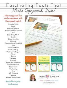 Sallie Borrink: Fascinating Facts That Make Copywork Fun!  The Old Schoolhouse Magazine - Spring 2016 - Page 31 http://www.thehomeschoolmagazine-digital.com/thehomeschoolmagazine/2016x2?pg=34#pg34
