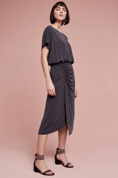 Etta Ruched Midi Dress by  Moulinette Soeurs  Anthropologie (US) Grey Midi  Dress cb8e40b6072e