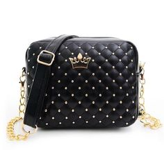 2016 Summer Fashion Women Messenger Bags Rivet Chain Shoulder Bag PU Leather Crossbody Quiled Crown bags #clothing,#shoes,#jewelry,#women,#men,#hats,#watches,#belts,#fashion,#style