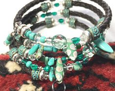 Dark natural bolo leather memory wire bracelet, teal 4x wrap goth cowgirl bracelet, bolo leather stack bracelet, 4x wrap coil cuff bracelet