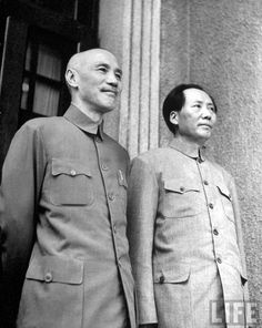 The leader of the Republic of China General Chiang Kai-shek standing next to the leader of the People's Republic of China Mao Zedong, 1945